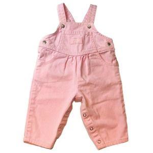 Vintage Baby Oshkosh Bgosh Pink Bubble Overalls